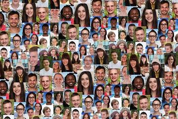 Hintergrund Collage junge Leute Jugendliche große Menschen Gruppe soziale Netzwerke